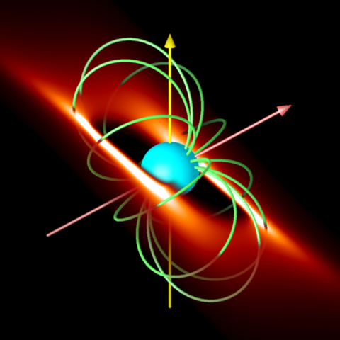 A rigidly rotating magnetosphere around a magnetic massive star.