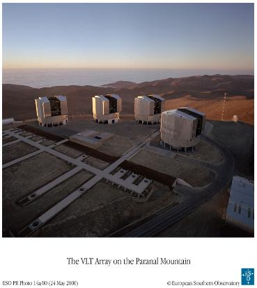 The four 8m telescopes of the VLTI array